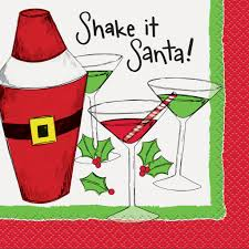 cocktail cartoon shake it santa christmas cocktail napkins 16ct