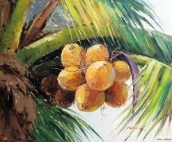palm tree coconut tree frond hawaii tahiti island stretched 20x24