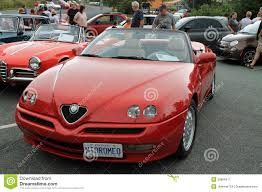 pink convertible cars classic italian convertible car alfa romeo spider editorial stock