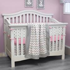 Pink And Grey Crib Bedding Sets Chevron Pink Customizable Crib Bedding Set By Sweet Kyla Canada