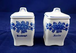 kitchen canisters blue beautiful hand painted with intricate