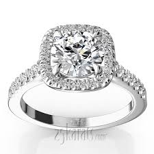 engagement rings with halo forged cushion halo engagement ring 1 3 ct t w