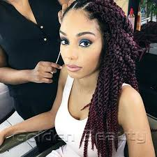 box braids hairstyle human hair or synthtic wholesale 22inch 3d cubic twist braids synthetic hair swith ombre