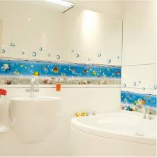 cartoon sea world bathroom sticker wall tile wall border