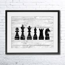 chess art illustration print chess painting black and white