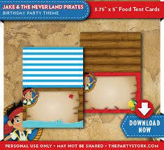jake neverland pirates food tent cards pirate