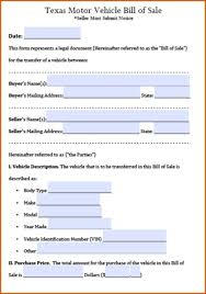 Bill Of Sale Of Car by Vehicle Bill Of Sale Pdf General Resumes