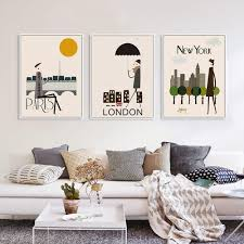 livingroom deco london new york paris a4 art print poster wall picture canvas