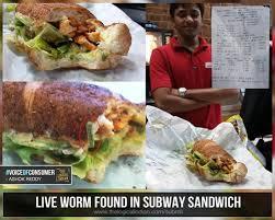 Subway Sandwich Meme - live worm found in subway sandwich imgur