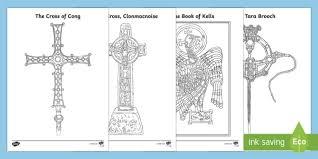 monastic treasures colouring pages irish ireland land