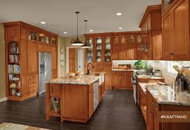 kraftmaid cherry kitchen cabinets in praline transitional