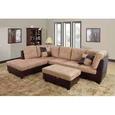 Microsuede Storage Ottoman Beverly Furniture Sedona Brown Microsuede Left Chaise Brown 3 Pc