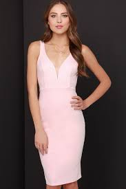 light pink bodycon dress light pink dress midi dress bodycon dress 45 00