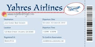 airline ticket boarding pass baby shower invitation
