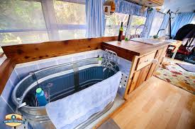 just right bus living with a water trough bathtub