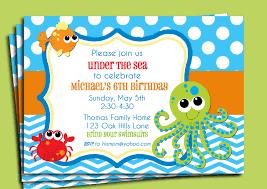 Invitations Card For Birthday Under The Sea Birthday Invitations Kawaiitheo Com