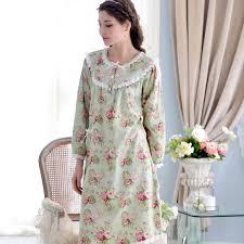 Baju Tidur shop wanita katun baju tidur bunga lengan panjang tidur dress