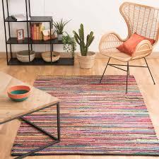 maison du tapis tapis tressé en coton multicolore 140 x 200 cm roulotte maisons