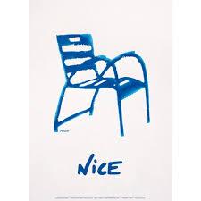 chaise bleue illustration la chaise bleue côte d azur 70x50 cm