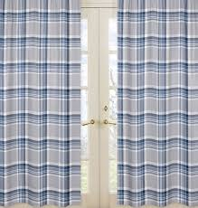 sweet jojo designs navy blue and gray plaid window panels by