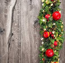 christmas decoration red green over wooden background u2014 stock
