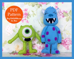 monsters inc halloween decorations monsters felt doll pdf pattern and tutorial adapted from