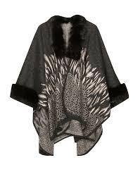 animal print cape with faux fur lynne eshop shop bold