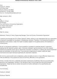 maintenance resume cover letter sample cover letter maintenance