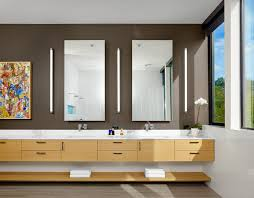 Frameless Mirror Bathroom by Applique Mirror Bathroom Contemporary With Floating Cabinet Door