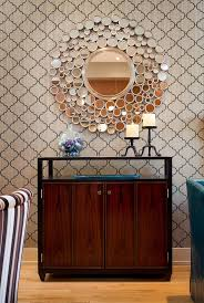 mirrored credenza dining room contemporary with baseboards mirror