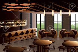 illustration of restaurant interior with industrial look royalty