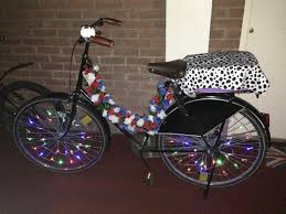 my dutch bike decorated with lights and flowers more