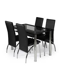 buy kingston glass and chrome dining table and 4 black chairs at