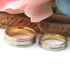 band gold two tone tungsten wedding bands gold plated tungsten carbide