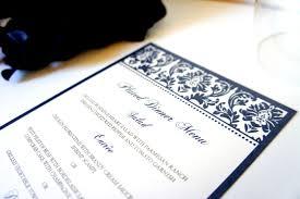 elegant menus navy blue damask wedding menu formal menu
