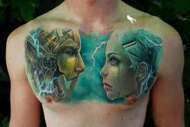 cyborg chest piece best tattoo design ideas