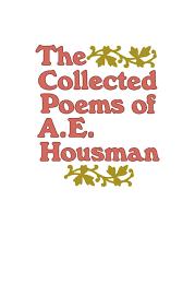 Short Halloween Poems The Collected Poems Of A E Housman A E Housman 9780805005479