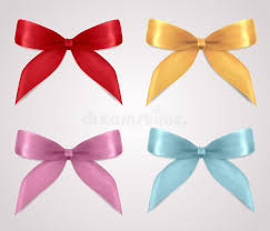 set of gift bows ribbons present symbol stock photo image