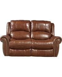 Brown Leather Recliner Get The Deal Abruzzo Brown Leather Reclining Loveseat