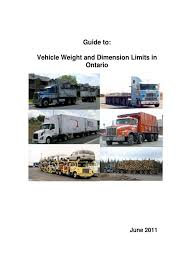 2011 guide to vehicle weight and dimension in ontario semi