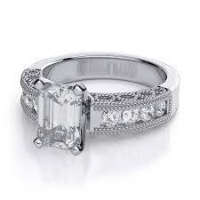 vintage emerald engagement rings vintage filigree emerald cut diamond engagement ring in 18k white