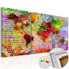 World Map Pinboard by Fabric Memo Board Rainbow World Cork Map Decorative Pinboards
