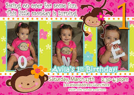 2nd Birthday Invitation Card Monkey Love Birthday Photo Invite 1 Year Old 2 Years Old Party