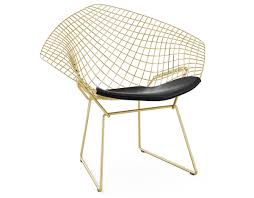 chaise bertoia knoll bertoia gold plated small chair with seat cushion