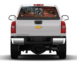 American Flag On Truck Pow American Flag Rear Window Truck Graphic Nostalgia Decals