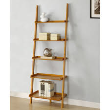 white leaning bookcase large leaning shelves featuring five