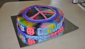 tie dye birthday cake peace sign cakecentral com