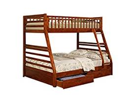 Bunk Bed With Shelves Amazon Com Twin Full Size Bunk Bed With Storage Drawers In Cherry