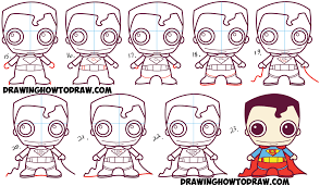 draw cute chibi superman dc comics easy step