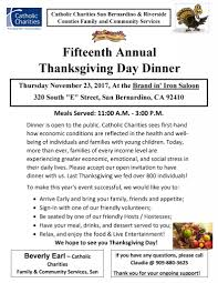 fifteenth annual thanksgiving day dinner inland regional center